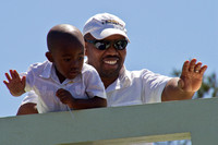 Cape Town, Man and Son on Overpass120-6123